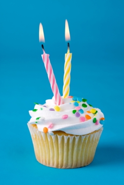 A birthday cupcake with two lighted candles.