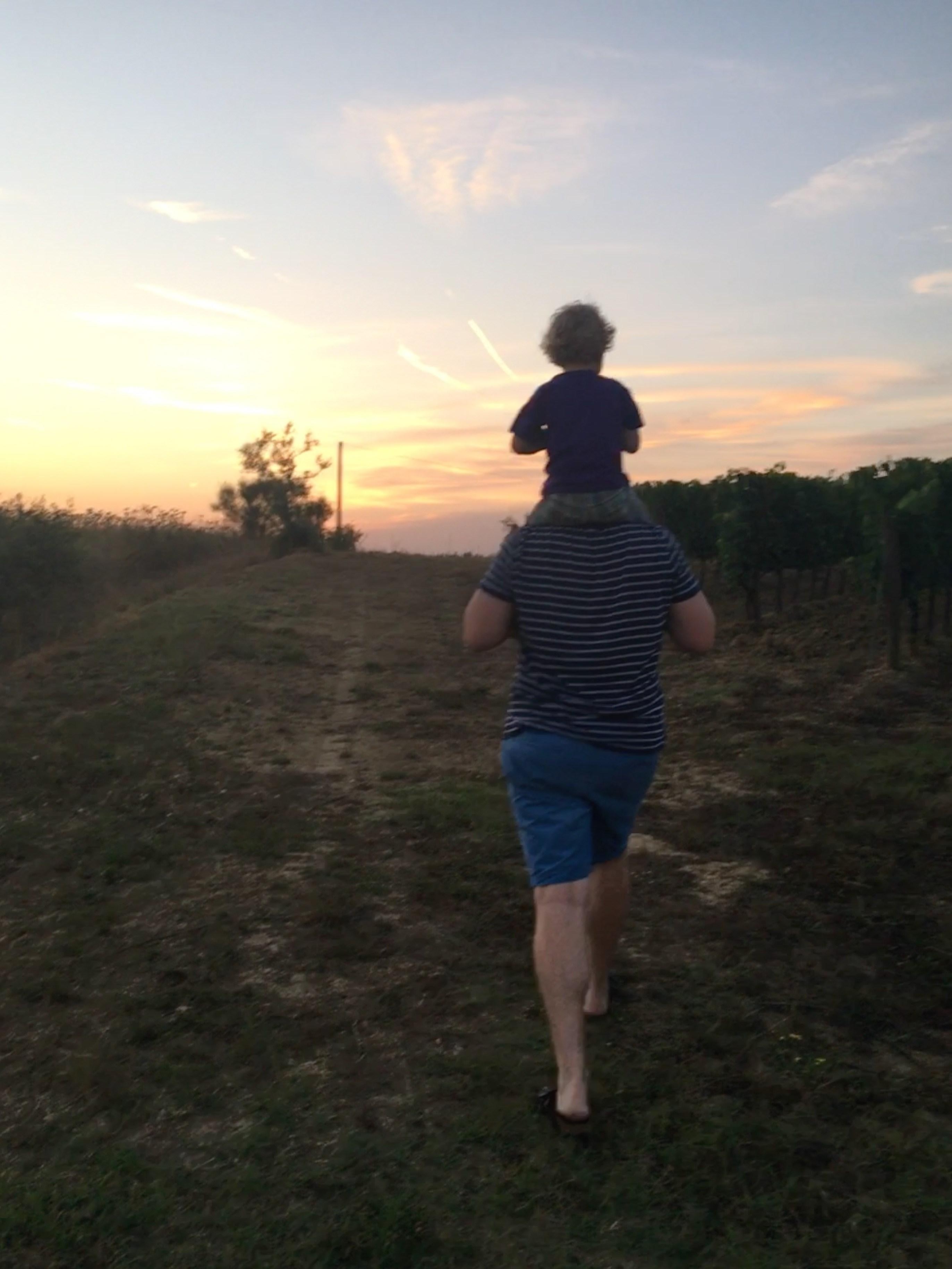 Vader en zoon in toscane, aan het wandelen bij zonsondergang